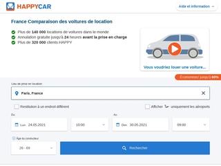 Happycar: comparateur d'offres de location de véhicules