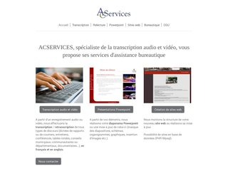 ACSERVICES secretariat transcription dactylographie