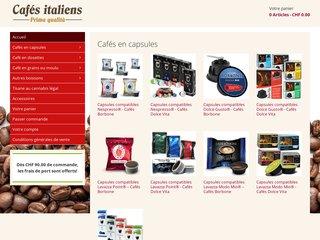 Café italien: dosettes et café en grain